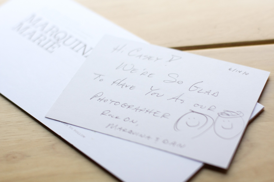 Note from wedding clients