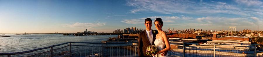 new york skyline bride and groom