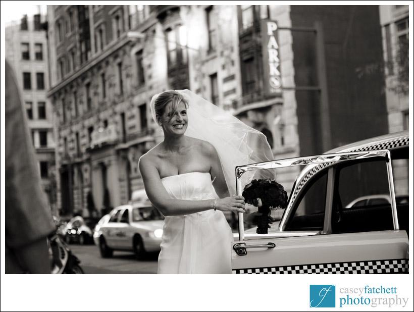 bride exiting vintage cab