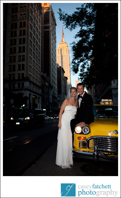 bride and groom vintage taxi empire state building
