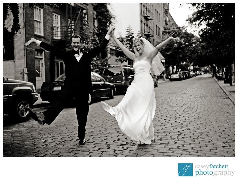 bride and groom cobblestone street