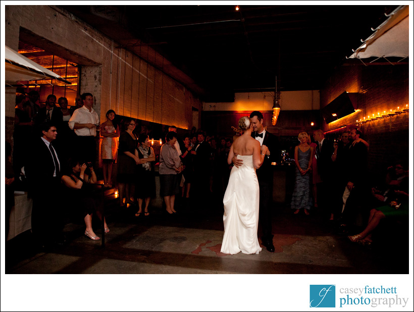bride and groom first dance public restaurant