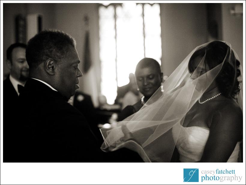 father lifting bride's veil