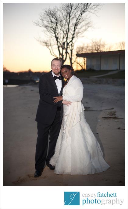 bride and groom beach portrait sunset