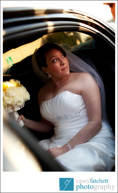 bride exiting the limousine