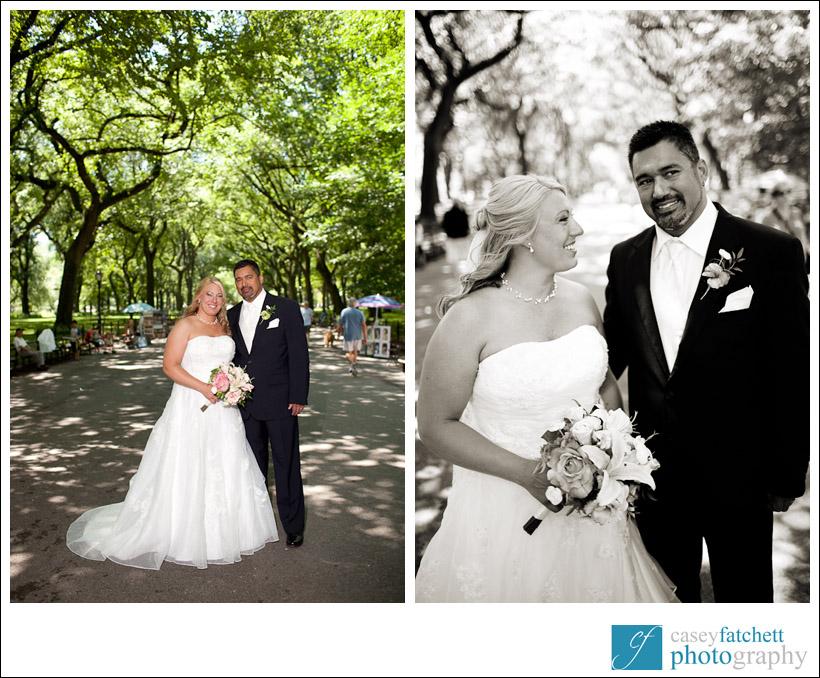 bride and groom central park wedding portraits
