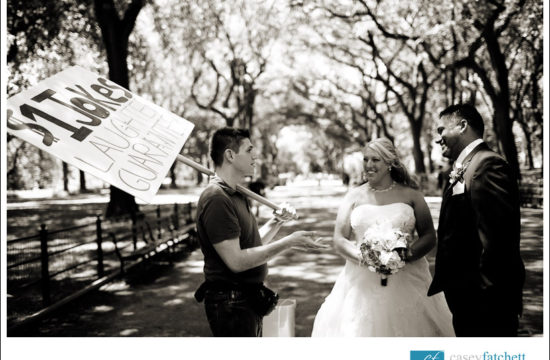 One Dollar Jokeman with Bride and Groom