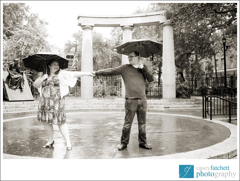 engagement photos in rain storm new york city