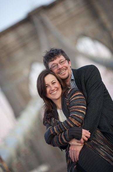 Brooklyn Bridge sunrise engagement photos