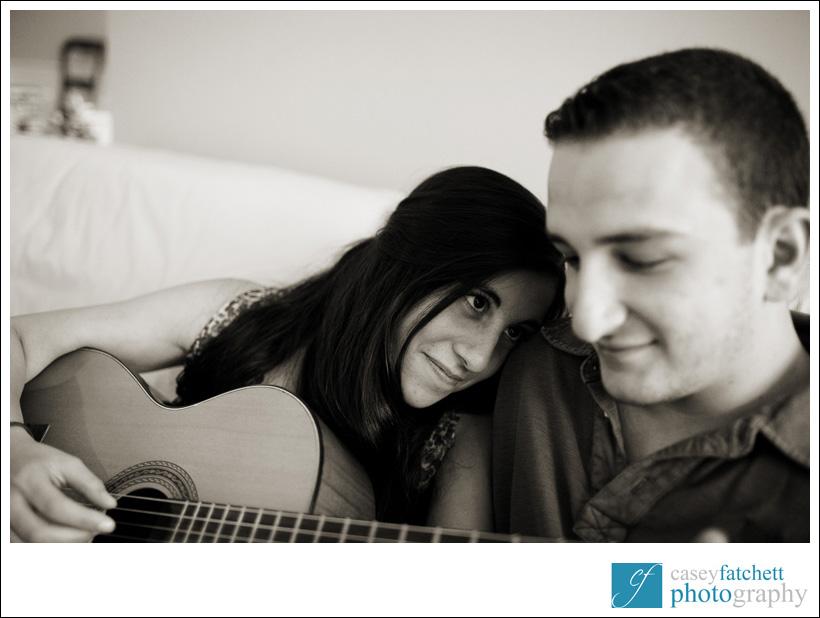guitar playing engagement shoot