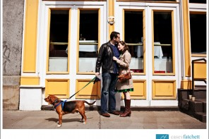 couple engagement session new york city with dog