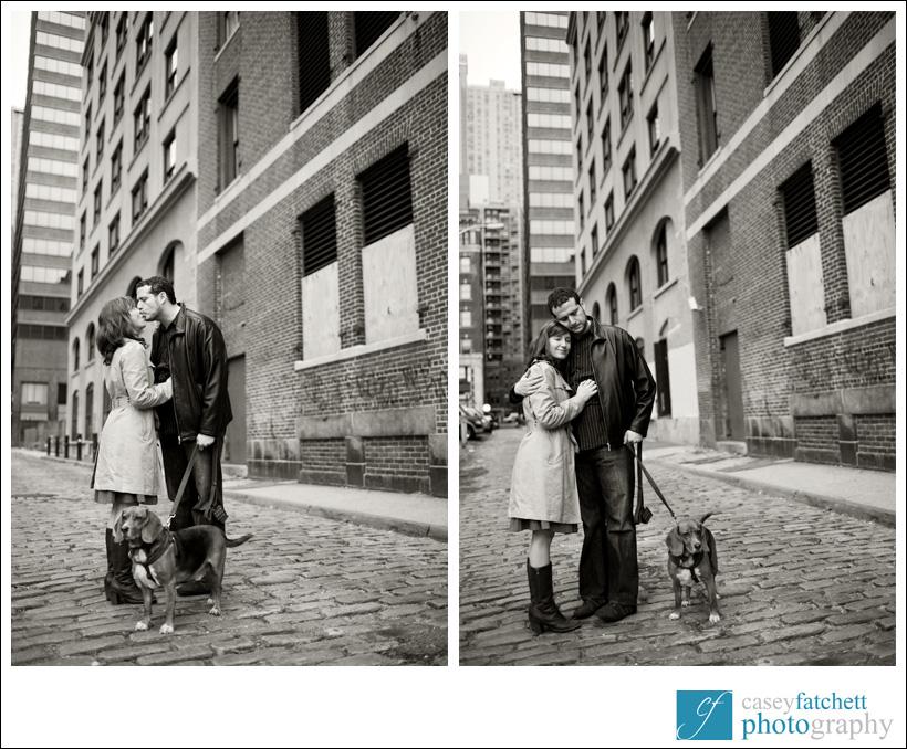 couple engagement photos photographer new york city with dog