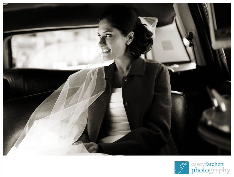 new york city wedding, bride in limo
