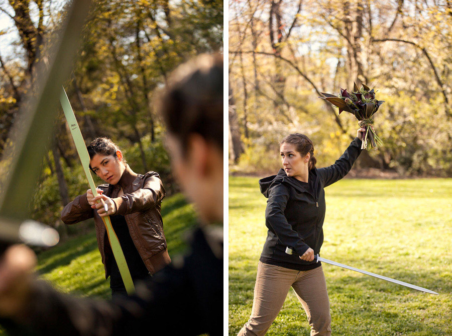 Hunger Games bow and arrow wedding inspiration