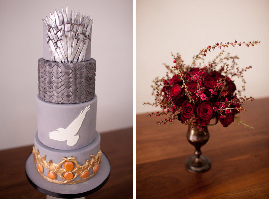 Game of Thrones wedding cake and centerpiece