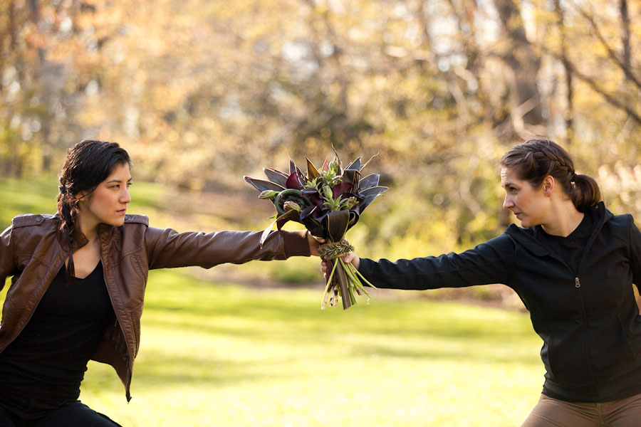 Hunger Games fight for the wedding bouquet