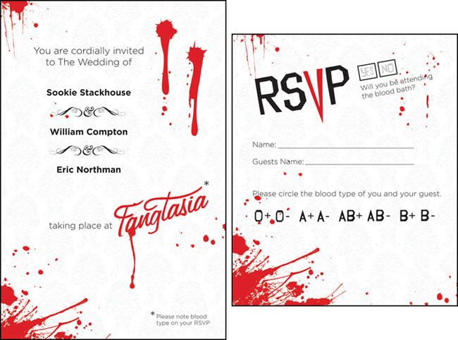 True Blood wedding invite and RSVP