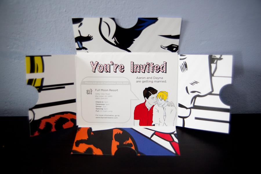 DIY fold out wedding invitation