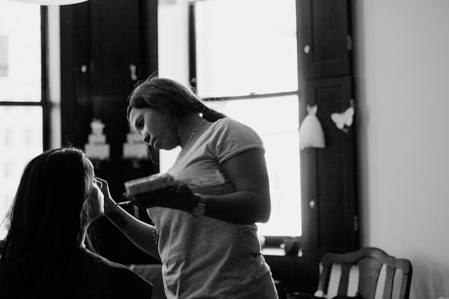 Bride getting ready at the Ace Hotel