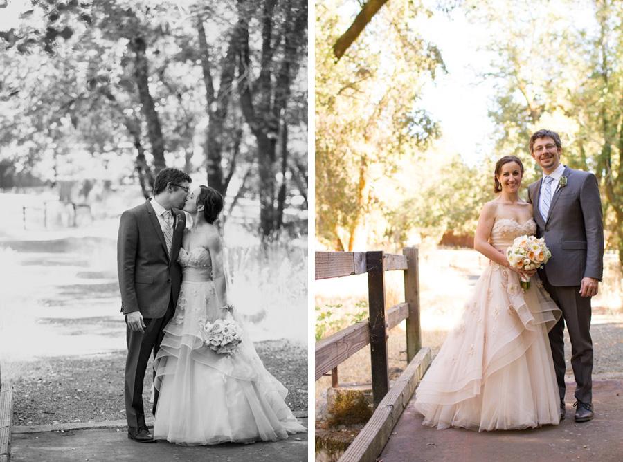 bride and groom after vineyard wedding