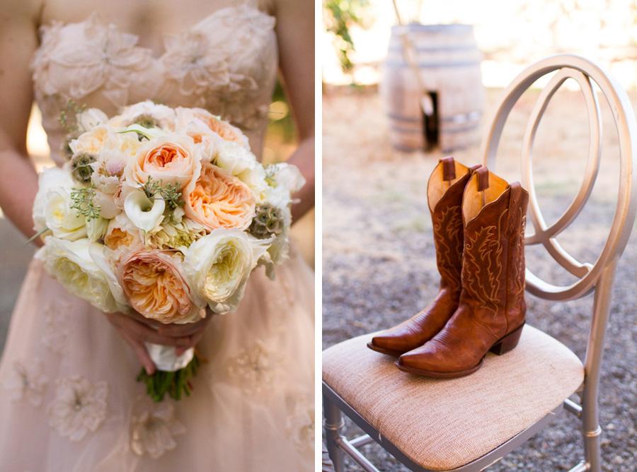 bridal bouquet and cowboy boots