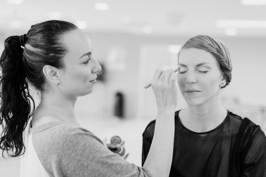 Applying wedding makeup
