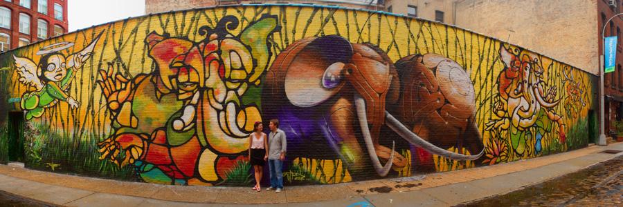 Brooklyn DUMBO graffiti wall engagement photo by Casey Fatchett