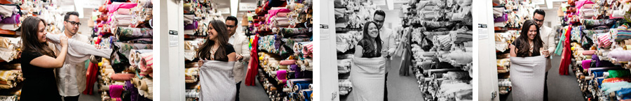 New York City fabric store engagement session photographed by Casey Fatchett