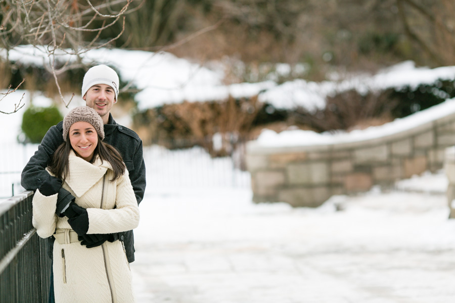 engagement photos in the snow in NYC by Casey Fatchett