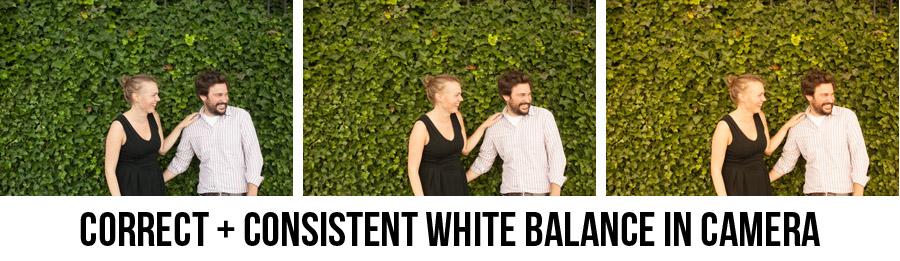 Consistent correct white balance in camera