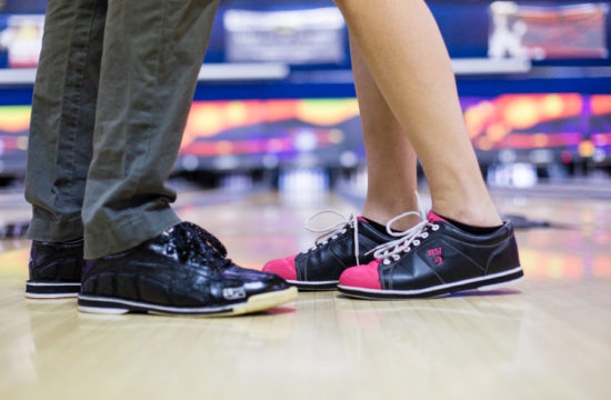 Brooklyn bowling alley engagement session photographed by Casey Fatchett