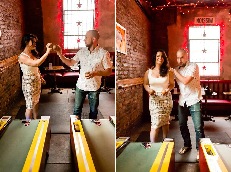 Brooklyn skee ball engagement session