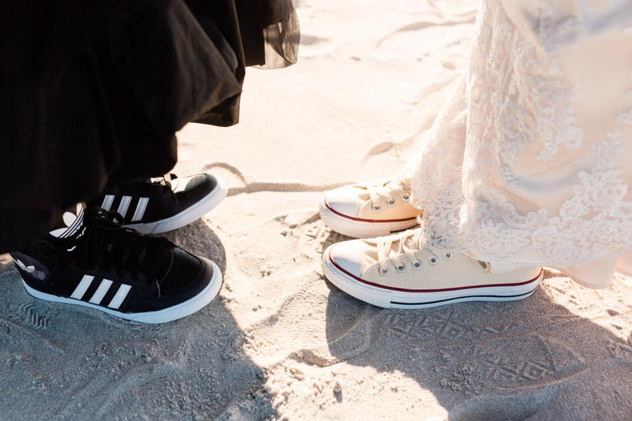 Sneakers as wedding shoes - photo by Casey Fatchett - fatchett.com