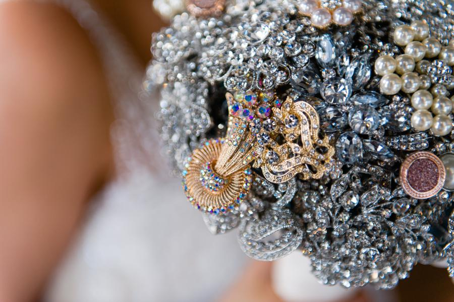 Brooch wedding bouquet photo by Casey Fatchett Photography - fatchett.com
