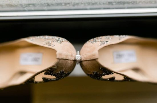 wedding shoes and engagement ring