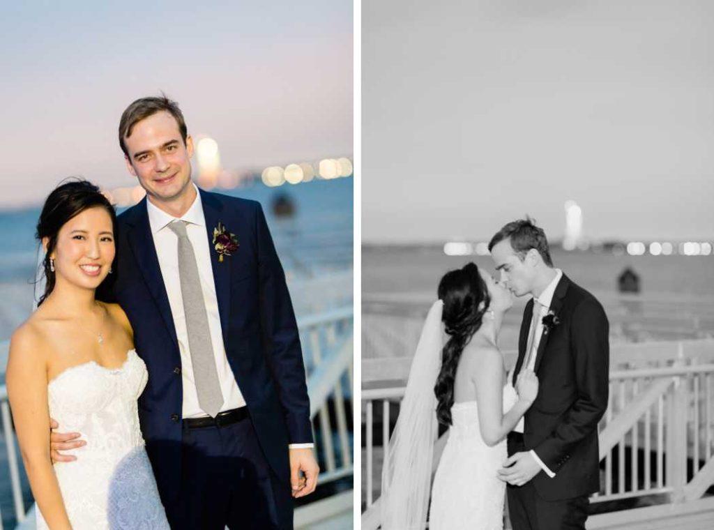 bride and groom at night liberty warehouse wedding brooklyn nyc