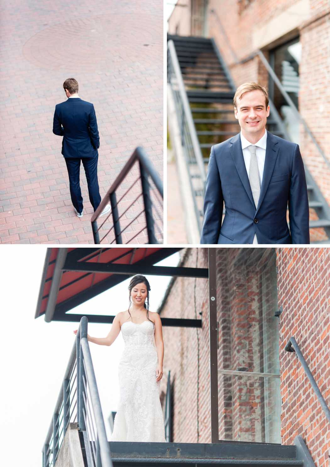 first look bride and groom at liberty warehouse
