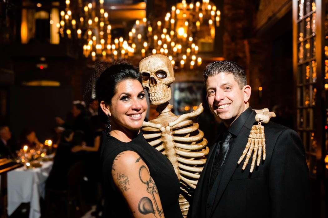 halloween wedding bride and groom