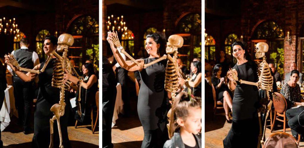 bride dances with skeleton at halloween wedding