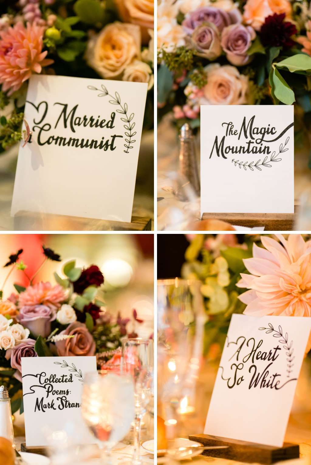 library and book themed wedding table names