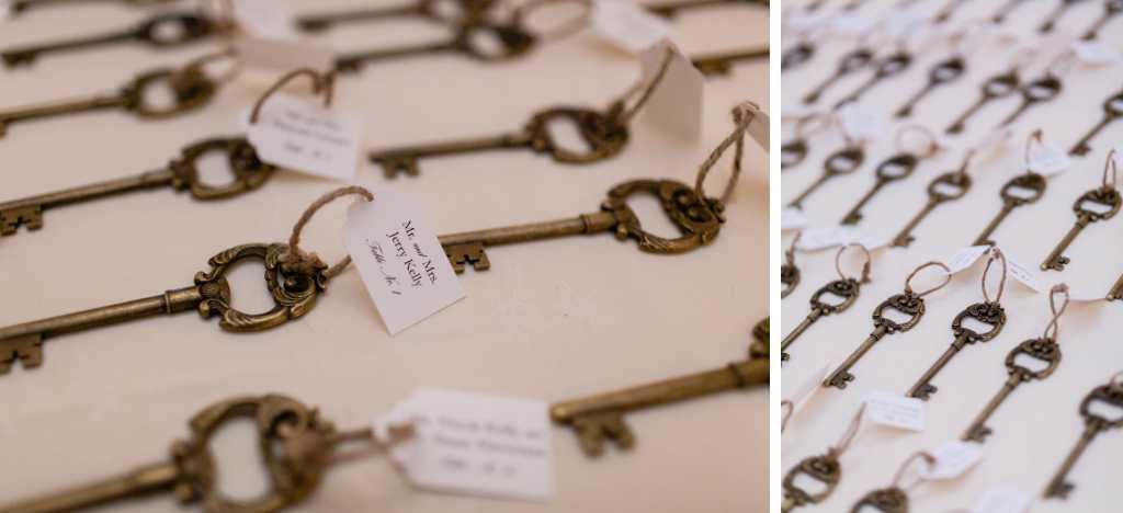 antique keys as wedding escort card photos by Casey Fatchett - https://fatchett.com