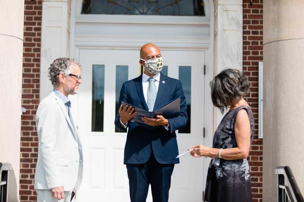 mayor conducts wedding ceremony