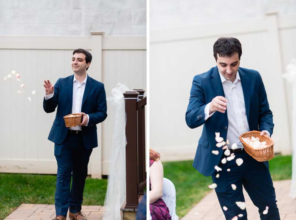 flower man tosses rose petals