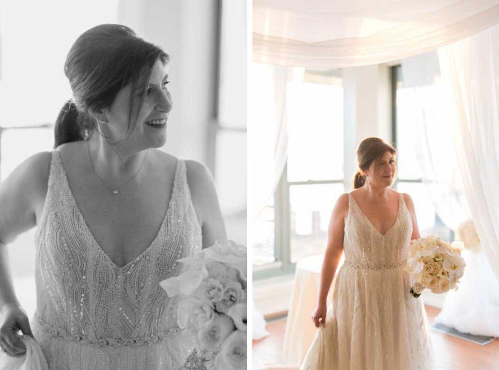 bride with flowers new york city wedding photographer