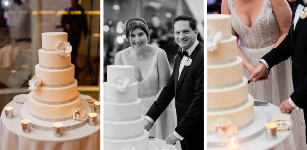 Couple cutting cake at wedding reception