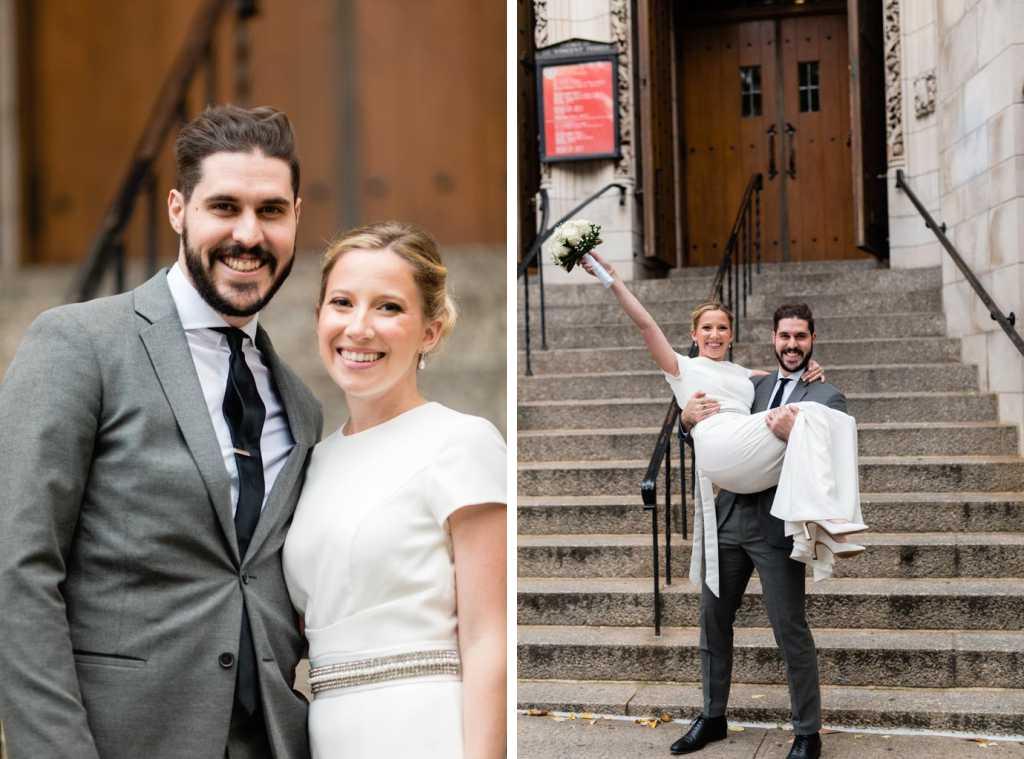 nyc bride and groom wedding photos