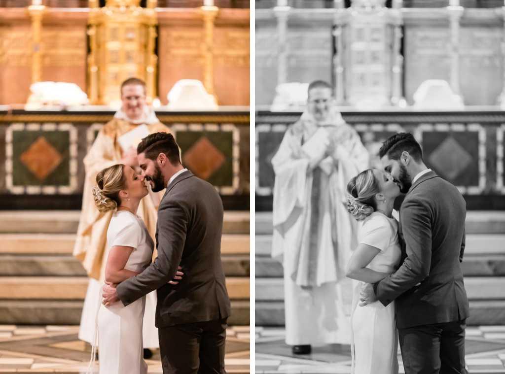 first kiss candid wedding photos