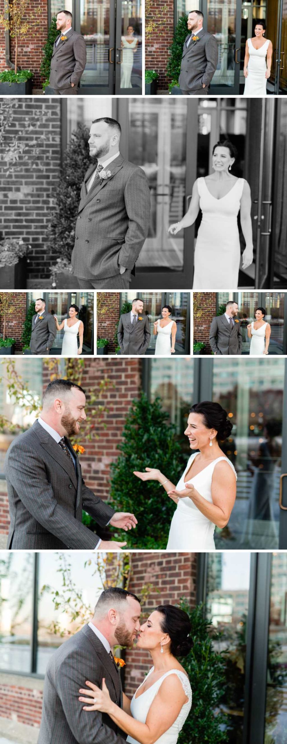 fall wedding at battello first look