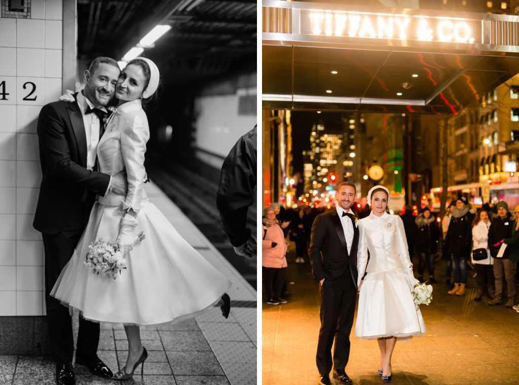 stylish new york city elopement wedding photos