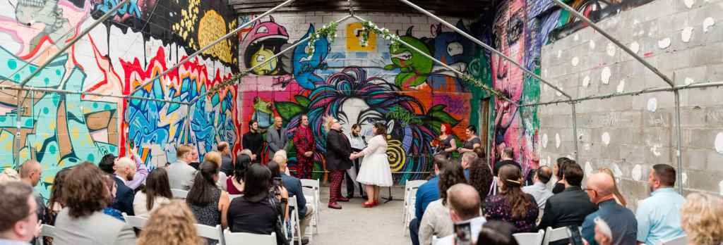 non traditional brooklyn wedding ceremony at the paper box nyc